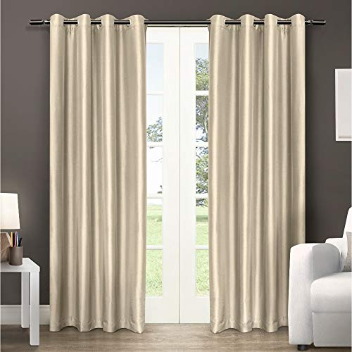 Exclusive Home Curtains Chatra Faux Silk Window Curtain Panel Pair with Grommet Top, 54x96, Bone, 2 Piece (Silk Raw Drapes)