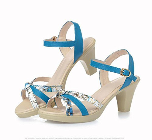 Women Match Color blue Comfortable Waterproof YC L Leather Summer Shoes In 35 Rough With With Sandals The Leather With Girls EfqZwa7E