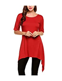 Meaneor Women Half Sleeve Comfy Loose Fit Irregular Hem Long T Shirt Tunic Top