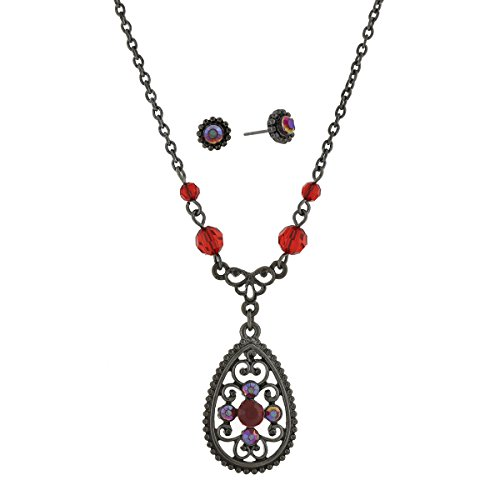 1928 Jewelry Red Beads and Filigree Teardrop Necklace & E...