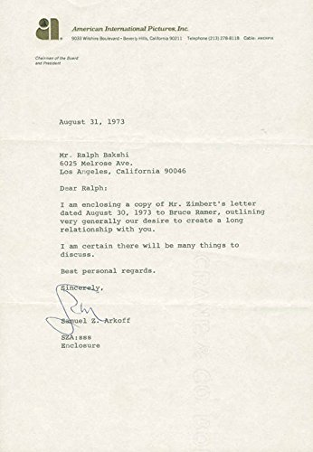 Samuel Z. Arkoff Typed Letter Signed 08/31/1973