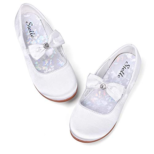 STELLE Girls Mary Jane Flat Slip-on Party Dress Shoes Kids Toddler (10MT, White) by STELLE