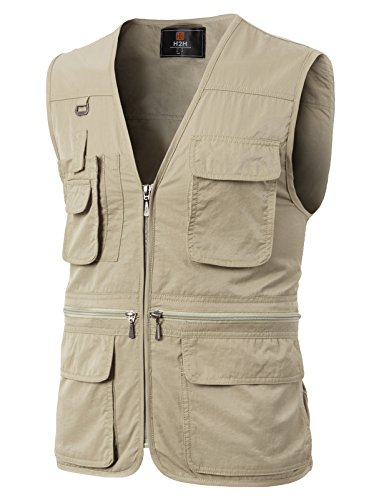 H2H Men's Multi-Pockets Travel Hunting Fishing Vest Ivory US S/Asia M (KMOV0113)