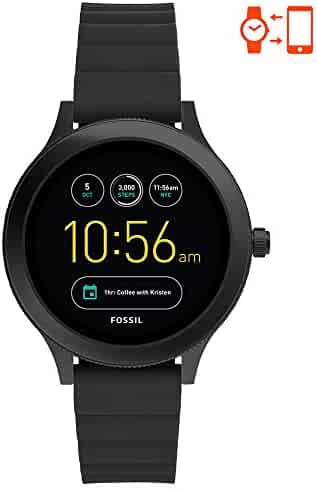 Fossil Q Women's Gen 3 Venture Stainless Steel and Silicone Smartwatch, Color: Black (Model: FTW6009)