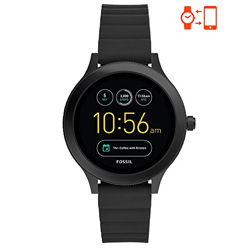 - Fossil Q Women's Gen 3 Venture Stainless Steel and Silicone Smartwatch, Color: Black (Model: FTW6009)