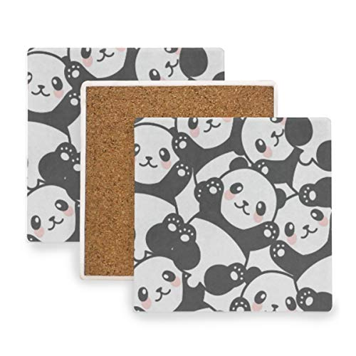 (Cartoon Panda Coasters, Prevent Furniture from Dirty and Scratched, Square Wood Coasters Set Suitable for Kinds of Mugs and Cups, Living Room Decorations Gift Set of)