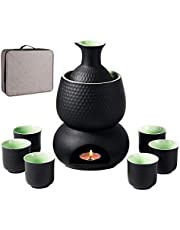 Sake Set and Cups with Warmer Keep Sake Storage Gift Box, Traditional Porcelain Japanese Pottery Hot Saki Drink, 9pcs Include 1 Stove 1 Warming Bowl 1 Sake Bottle 6 Cup