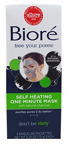 Biore Self Heating One Minute Mask 4 Count (3 Pack)