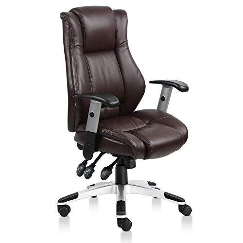 VIVA OFFICE Hot High Back Bonded Leather Executive Chair with Upgraded Arms (Brown)