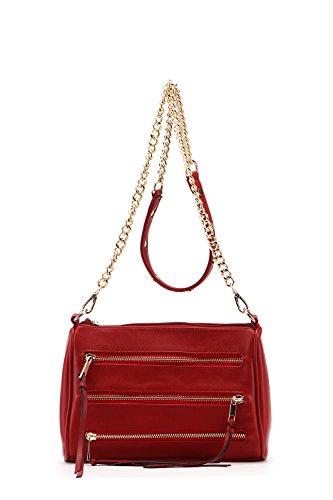 Red Arlene Handbags Strap Crossbody MKF Farrow K Pocket Dark Triple Collection Chain Mia Zippered Bag by zIxwZ4HEq