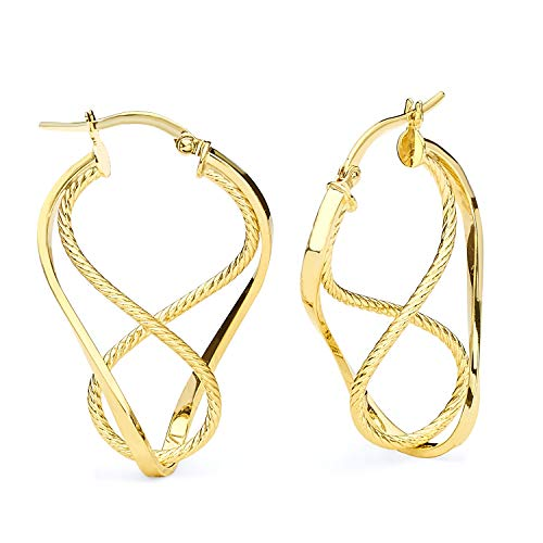 14k Yellow Gold 3mm Thickness Rope Design Twisted Hinged Earrings (36 x 23 mm) ()