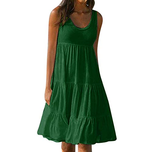 peacur Women Sleeveless Dresses Summer Fashion O-Neck Solid Holiday Beach Party Mini Shirt Dress (Green, M)