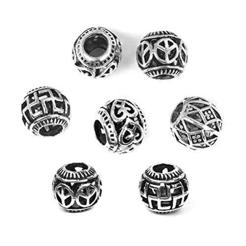 (Tibetan Silver Spacer Loose Beads Hollow Filigree Large Hole Beads for Jewelry Making Metal Findings)