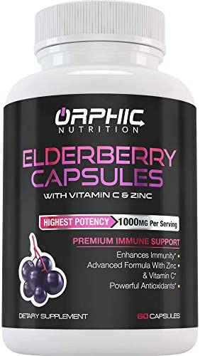 Elderberry Capsules with Zinc Vitamin C for Immunity Support Energy Boost - Extra Strength 1000mg Elderberry, 300mg Vitamin C, 15mg Zinc - All-Natural, Gluten Free Vegetarian - 30 Servings