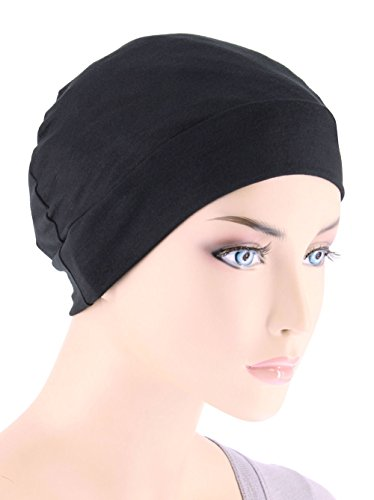 Soft Comfy Chemo Cap and Sleep Turban, Hat Liner for Cancer in Black