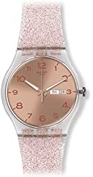 Swatch Unisex SUOK703 Pink Glistar Watch with Sparkling Band