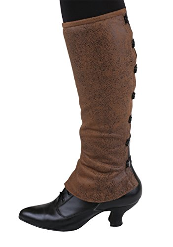 Historical Emporium Women's Reversible Faux Leather Gaiters L Brown (Spat Boots)