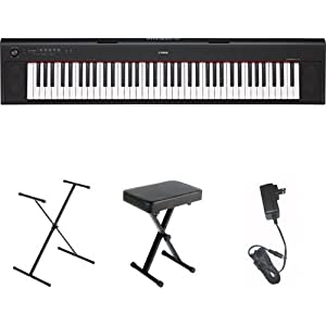 Yamaha NP32 76-Key Lightweight Portable Keyboard, Black, with Stand, Bench, and Power Supply