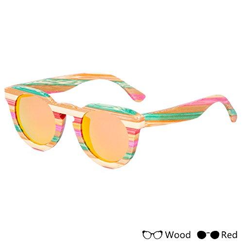 Gafas Sol De B Madera Polarizadas Pesca Gafas De Modo Acceso Unisex Colorido Hombres Para Uv400 La TIANLIANG04 E Unisex E0XqHw
