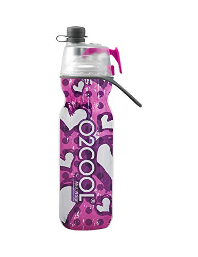 O2COOL HMCDP23 Insulated Water Bottle, Mist 'N Sip Purple Hearts from Color Series, 20 oz, 20 - Water Heart
