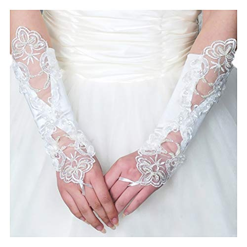 (Fstrend Bride Wedding Elbow Length Glove Beaded Lace Flower Glove for Women and Girls (White))