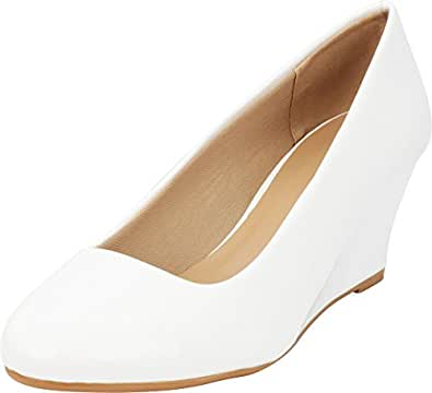 Cambridge Select Women's Classic Slip On Ballet Mid Wedge Heel Pump (5.5 B(M) US, White Patent)