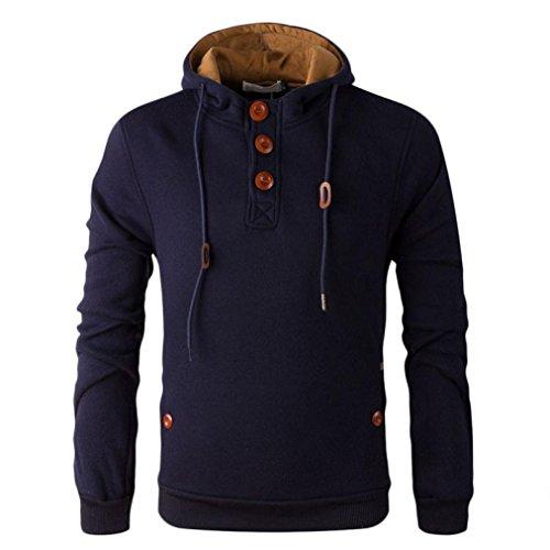FAPIZI ❈ Men Blouse ❈ Autumn And Winter Men's Even The CAP Sweater (L, Navy)