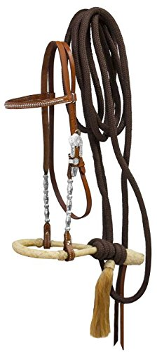 Showman Horse Bosal Headstall with Nylon Mecate Reins with Rawhide Noseband and Silver Beaded Cheeks