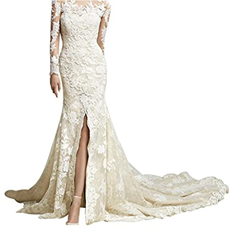King's Love Vintage Full Lace Long Sleeve Wedding Dresses Mermaid With Slit Sexy Bridal Gowns Champange - Full Sweep Gown