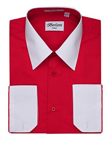 Contrast Collar Shirt (Men's Red Two Tone Dress Shirt w/ Convertible Cuffs - XXLarge 36 /37)