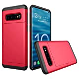 Cyhulu Samsung Galaxy Phone S10e Case, New Fashion Brushed Hard PC+Silicone Case Cover Card Holder for Samsung Galaxy S10e 5.8inch Accessories (Red, One size)