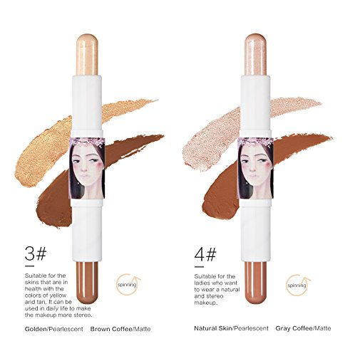 CCbeauty Double-end Contour Stick Makeup Facial Highlighter Stick Shimmer Cream Powder Face Foundation Concealer,Golden-Brown coffee,3#