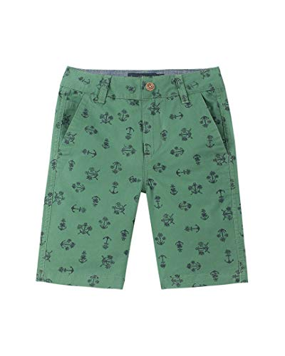 Lucky Brand Big Boys' Flat Front Printed Twill Shorts, Anchor Palm Dark Ivy - Flat Twill Shorts Front
