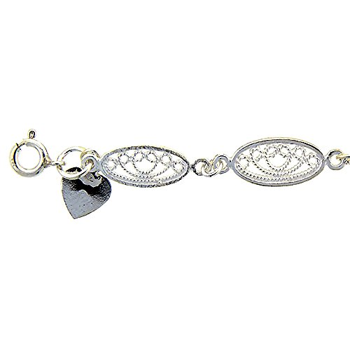 (Sterling Silver Anklet with Filigree Oval Links, fits 9 - 10 inch ankles)