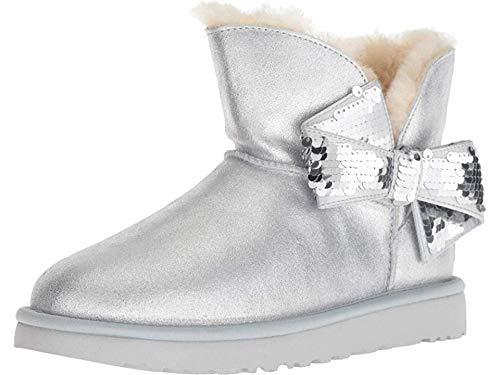 (UGG Women's W Mini Sequin Bow Fashion Boot, Silver, 8 M US)