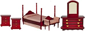 Dolls House Mahogany 4 Poster Double Bed 5 Piece Set Miniature Bedroom Furniture