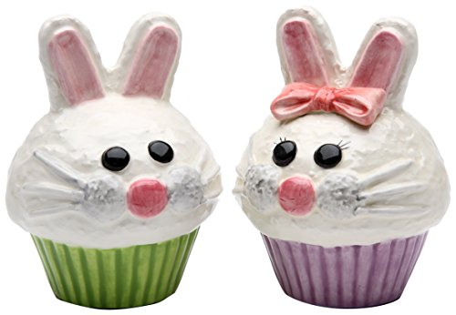 StealStreet SS-CG-61816, 3.5 Inch Boy and Girl Bunny Cupcake Salt and Pepper Shaker Set