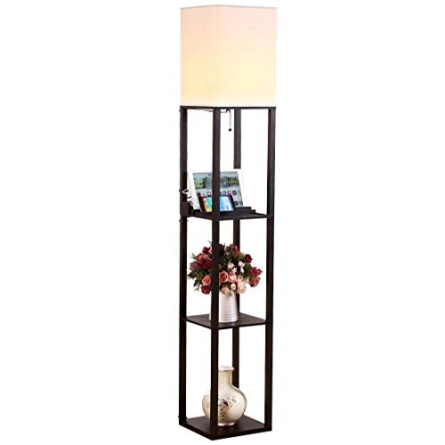 Brightech Maxwell USB Shelf Floor Lamp – Modern Asian Style Standing Lamp with Soft Diffused Uplight- Wooden Frame w. Convenient Open Box Display Shelves, 2 USB Ports & Electric Outlet-Black