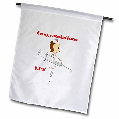 3dRose Florene Congratulations For Careers - Image of Congratulations for New LPN - 18 x 27 inch Garden Flag (fl_240695_2)