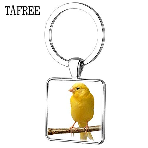 Key Chains - New Arrival Cute Yellow Canary Birds Square Pendant Keychains Unique Picture Glass Cabochon Jewelry for Men Gift CA35 - by Mct12-1 PCs