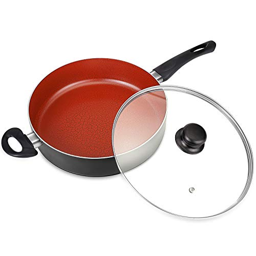 MICHELANGELO 5 Quart Induction Saute Pan with Lid, Ultra Nonstick 11 Inch Deep Skillet with Lid, Nonstick Saute Pan, Titanium Skillet 11 Inch, Nonstick Deep Pan, Induction Compatible - - Deep Skillets 11