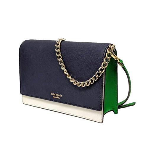 Kate Spade Cameron Saffiano Leather Convertible Crossbody Bag Purse Handbag, Navy White Green, Blazer Blue/Bright White/Green Bean, Medium