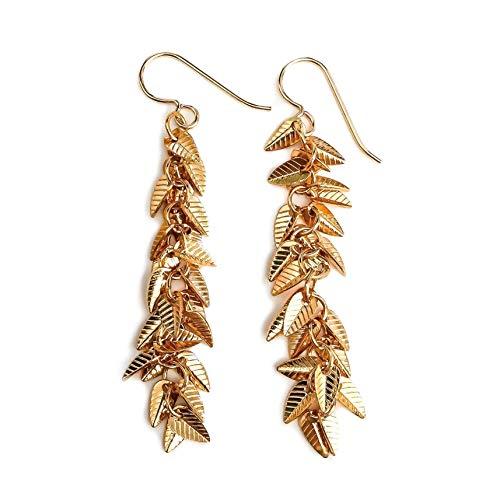 Gold Leaf Fringe Cluster Tassel Earrings ()