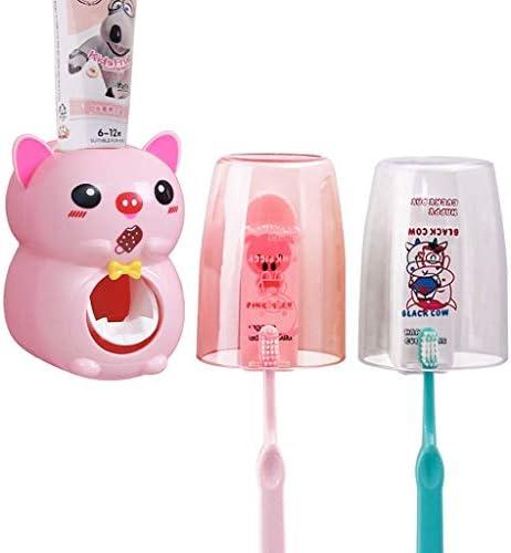 HXC-HXC 歯ブラシホルダーは、子供の歯磨き粉アーティファクト漫画かわいい吸引壁に取り付けられたバスルーム無料のパンチング自動歯磨きセット(カラー:A)(カラー:A) Toothbrush Holder