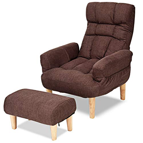 Giantex Folding Lazy Sofa Chair w/Ottoman, Thick Padded Linen Lounge Armchair Set, Adjustable Backrest Headrest in 10 Position, Easy Assembly, Single Recliner for Living, Bedroom Small Apartment (Reading Chair Ottoman)