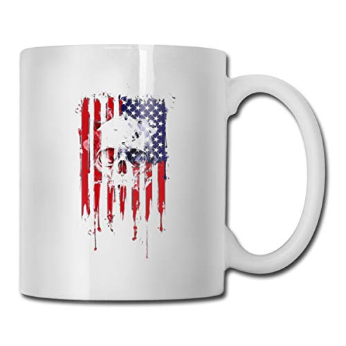 Roing Bo Coffee Mugs 11oz Funny Cup Milk Juice Or Tea Cup American Flag White Skull -