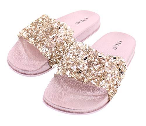 Sanaa Womens Sparkle Slide Sandals Slip On,Glitter Slides for Women,Summer Sandal,Bling Shoes for Wedding Rose Gold 8 US