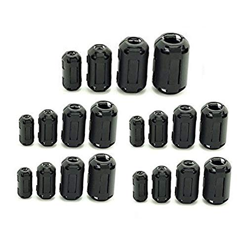 PP-YY 20 Pcs Clip-on Ferrite Ring Core RFI EMI Noise Suppressor Cable Clip for 5mm/7mm/9mm/13mm Diameter Cable, Black by PP-YY