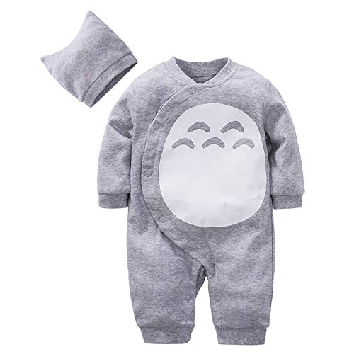 Beal Shopping Cute Totoro Cartoon Baby Romper Newborn Infant Toddlers Boy Girl Cosplay Costume Clothing, Grey, 1-3 Months]()