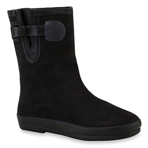 Stiefelparadies Sportliche Damen Chelsea Boots Stiefeletten Veloursoptik Flandell Schwarz Schnallen
